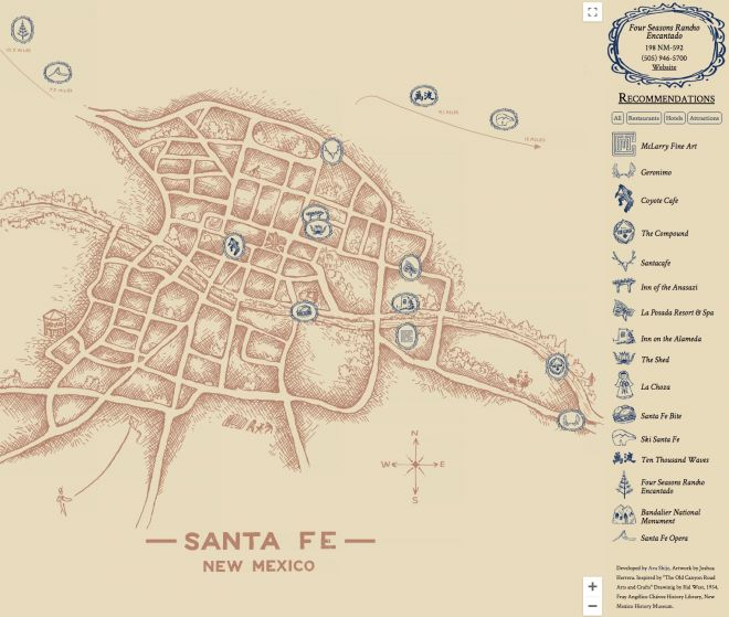 Zenbox Marketing Interactive Map Development of downtown Santa Fe