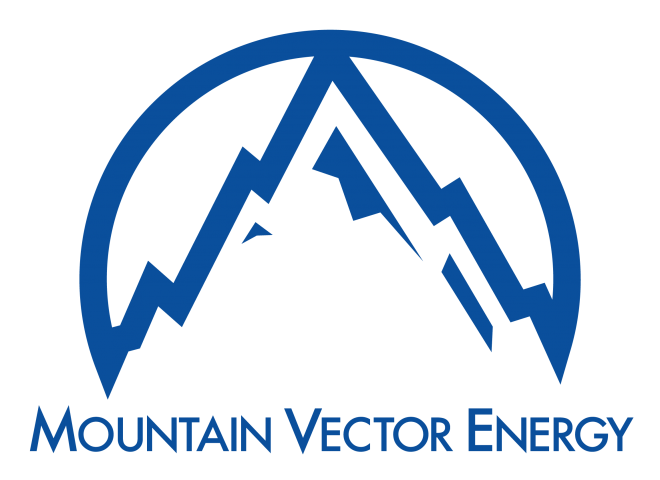 Logo for Mountain Vector Energy, a graphic representation of a mountain encompassed by a circle