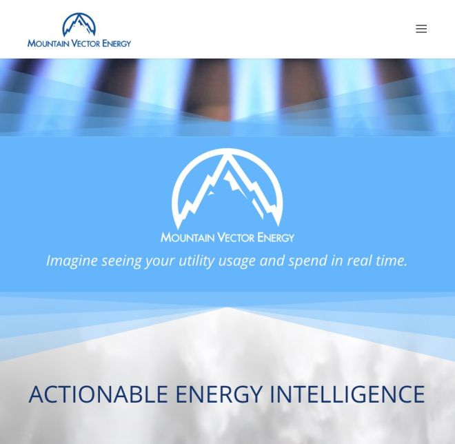 Web page for Mountain Vector Energy, the logo is in the middle of gas fire and a waterfall