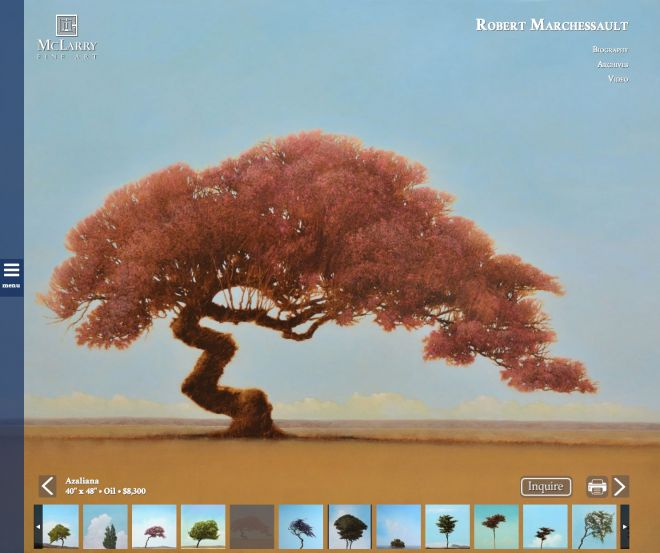 Screenshot of Mclarry Fine art website made by Zenbox Marketing in Santa Fe, NM an oil tree titled Azaliana, painted by Robert Marchessault.