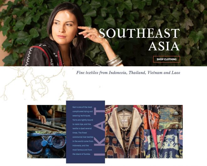 Screenshot of the Dancing Ladies website, featuring fine clothing and textile from Southeast Asia