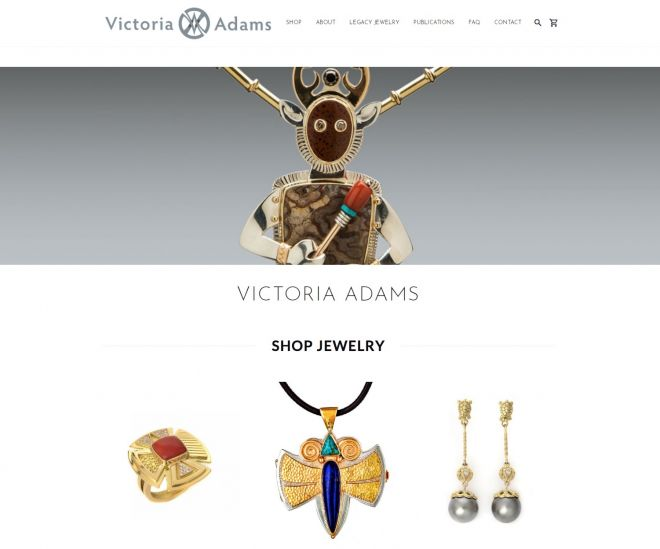 Screenshot of Victoria Adams website featuring her hand made jewelry in precious metals and stones