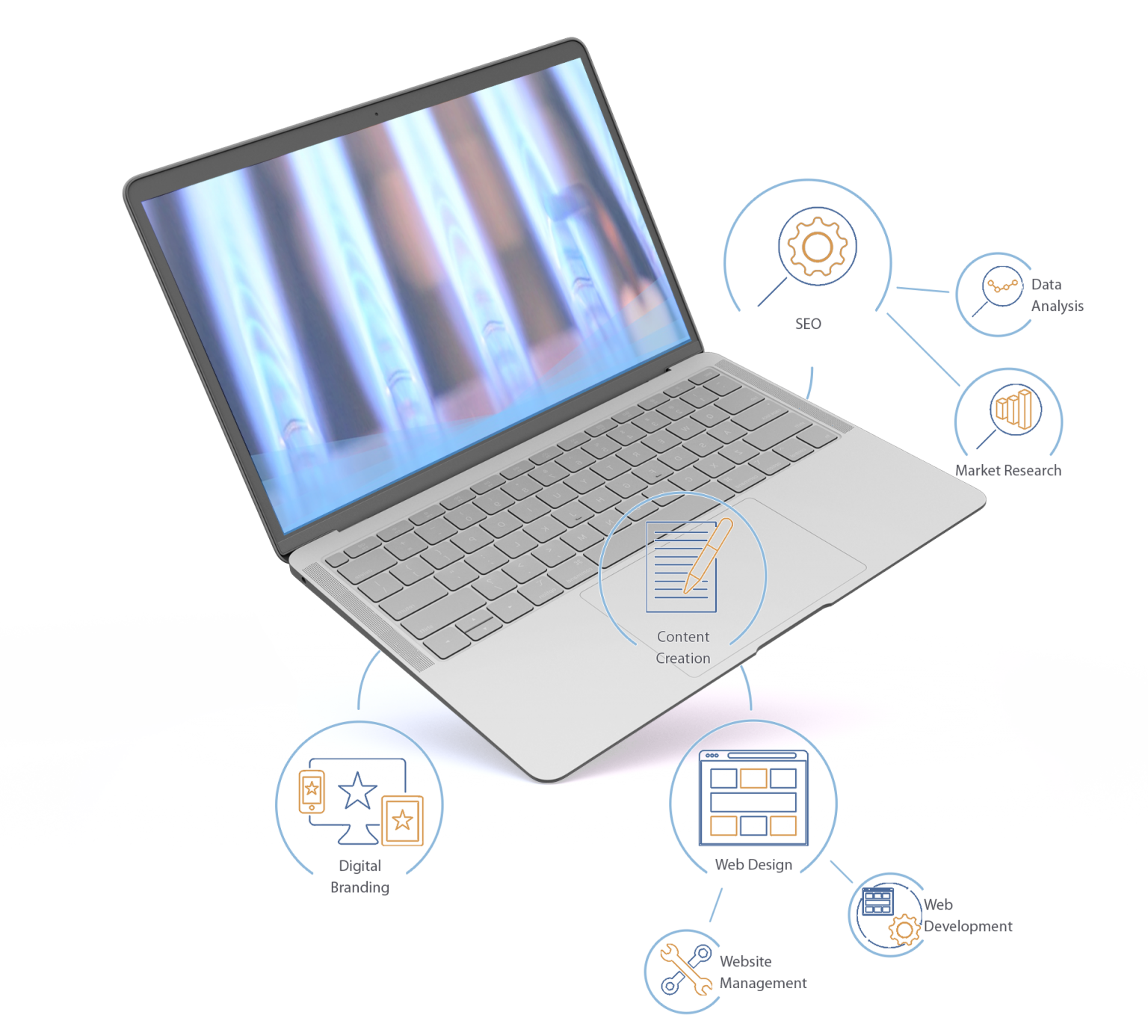 Laptop depicting anatomy of a website by Zenbox Marketing in Santa Fe NM, they include digital branding, web design, content creation, and SEO